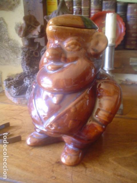 MUY ANTIGUA JARRA DE VINO ANTIGUA CALDAS PORTUGAL ESTILO BORDALHO PINHEIRO (Antigüedades - Porcelanas y Cerámicas - Otras)
