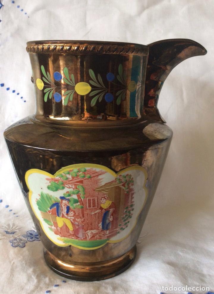 ANTIGUA JARRA DE REFLEJOS (BRISTOL) FINALES SIGLO XIX ,CON DEFECTOS (Antigüedades - Porcelanas y Cerámicas - Inglesa, Bristol y Otros)