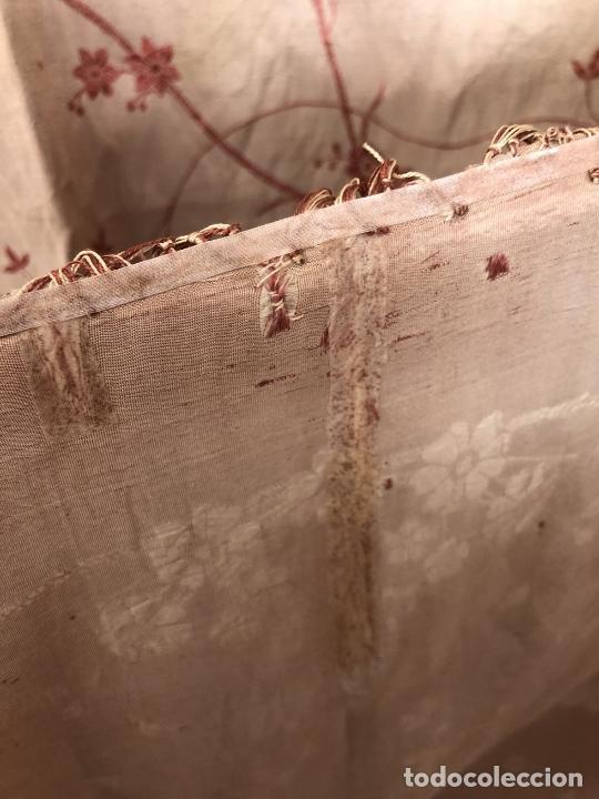 Antigüedades: MANTÓN BROCADO DE SEDA NATURAL - COLOR PALO ROSA CON EFECTO TORNASOLADO - S. XIX - Foto 12 - 114811839