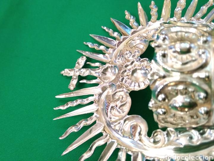Antigüedades: Corona de metal plateado con baño de plata (o dorado) 3 cm diámetro (nueva) - Foto 2 - 257582930