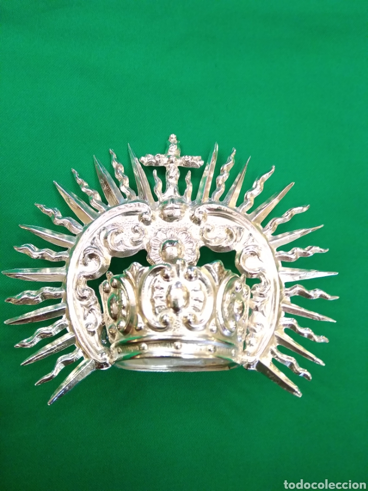 Antigüedades: Corona de metal plateado con baño de plata (o dorado) 3 cm diámetro (nueva) - Foto 4 - 257582930