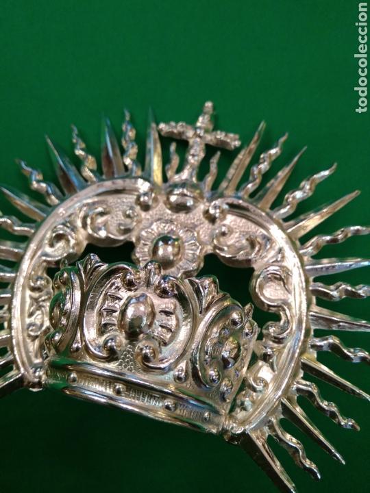 Antigüedades: Corona de metal plateado con baño de plata (o dorado) 3 cm diámetro (nueva) - Foto 5 - 257582930