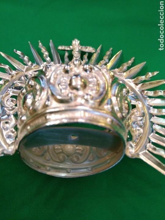 Antigüedades: Corona de metal plateado con baño de plata (o dorado) 3 cm diámetro (nueva) - Foto 6 - 257582930