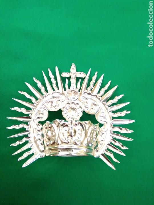 Antigüedades: Corona de metal plateado con baño de plata (o dorado) 3 cm diámetro (nueva) - Foto 7 - 257582930