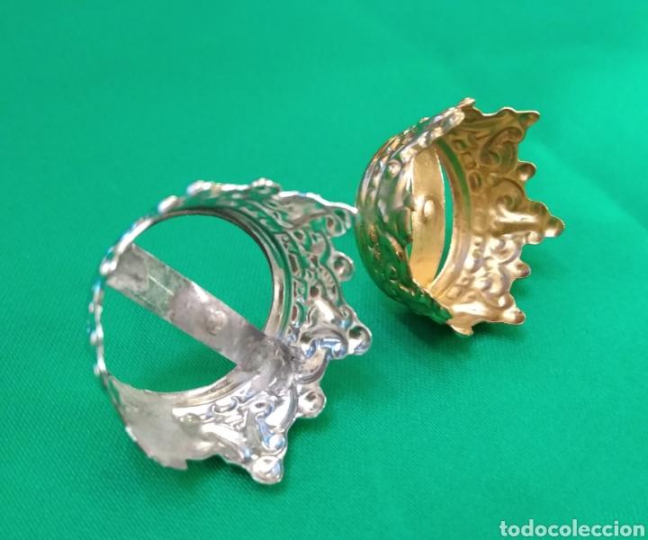 Antigüedades: Corona de metal plateado con baño de plata (o dorado) 2 cm diámetro (nueva) - Foto 4 - 257582880