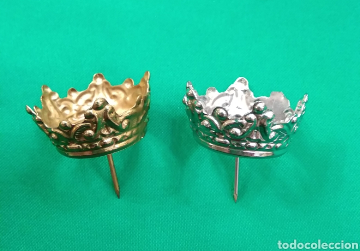 Antigüedades: Corona de metal plateado con baño de plata (o dorado) 2 cm diámetro (nueva) - Foto 2 - 257582880