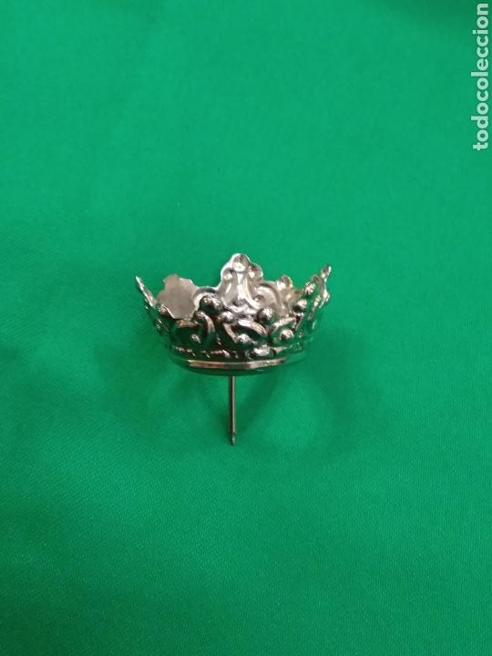 Antigüedades: Corona de metal plateado con baño de plata (o dorado) 2 cm diámetro (nueva) - Foto 5 - 257582880