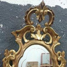 Antigüedades: ANTIGUO ESPEJO, CORNUCOPIA DE MADERA DORADA AL ORO FINO. LUNA ORIGINAL. PRINCIPIOS SIGLO XIX.77X47CM. Lote 114888767
