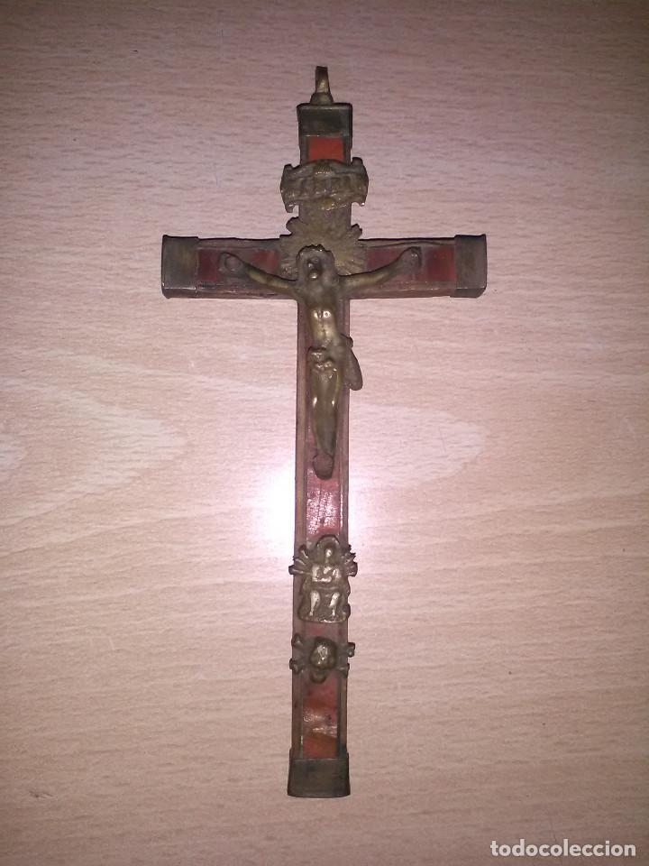 CRUZ EN MADERA CON BRONCES,PARTE DELANTERA FORRADA DE CAREY,SIGLO XVIII (Antigüedades - Religiosas - Cruces Antiguas)
