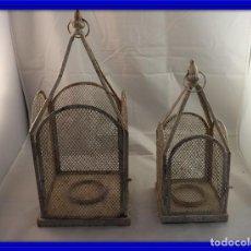 Antigüedades: FAROLES PARA VELA ENREJILLADOS SE PUEDEN COLGAR. Lote 120191863