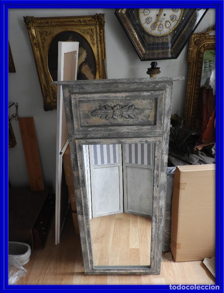 Espejo trumeau de madera envejecida con bonito comprar for Espejo madera envejecida