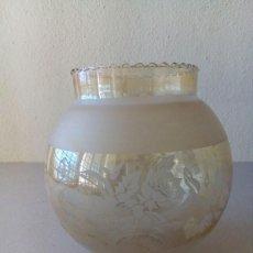 Antigüedades: TULIPA DE CRISTAL TONO CON MOTIVOS AL ACIDO. Lote 114944351