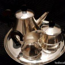 Antigüedades: JUEGO DE CAFÉ BAÑO DE PLATA CON BANDEJA.. Lote 114948207