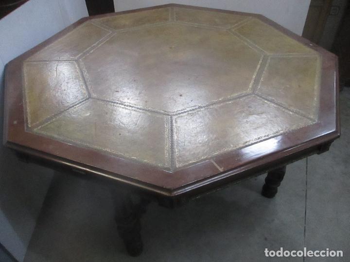 Antigüedades: Antigua Mesa de Juntas Octogonal - Despacho - Victoriana - Madera Nogal - Sobre en Piel - S. XIX - Foto 3 - 114980139