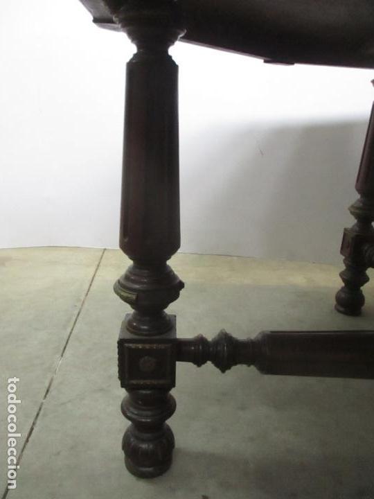 Antigüedades: Antigua Mesa de Juntas Octogonal - Despacho - Victoriana - Madera Nogal - Sobre en Piel - S. XIX - Foto 8 - 114980139