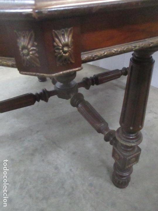 Antigüedades: Antigua Mesa de Juntas Octogonal - Despacho - Victoriana - Madera Nogal - Sobre en Piel - S. XIX - Foto 10 - 114980139