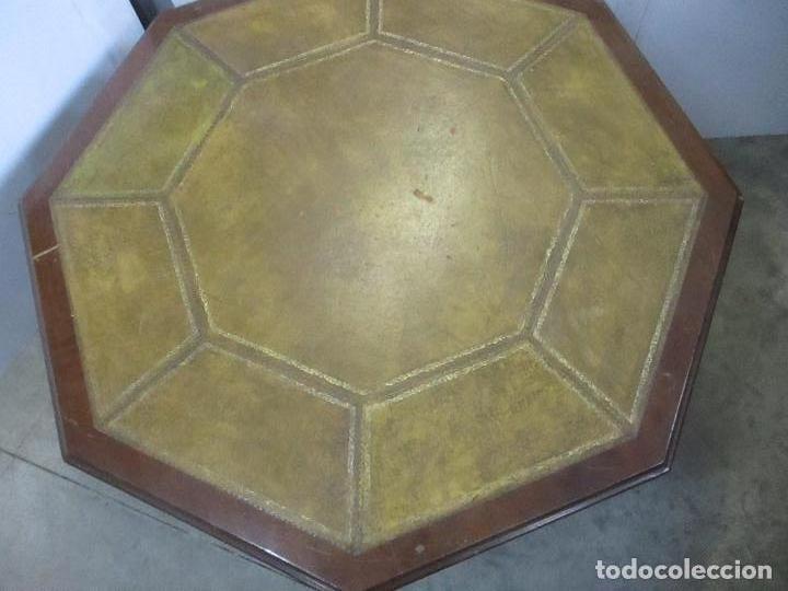 Antigüedades: Antigua Mesa de Juntas Octogonal - Despacho - Victoriana - Madera Nogal - Sobre en Piel - S. XIX - Foto 11 - 114980139