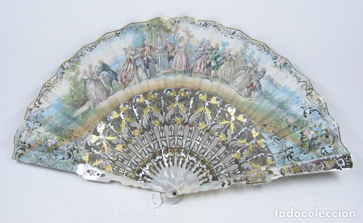 Antigüedades: Abanico isabelino de nácar, siglo XIX, 26,5cm de largo de varilla. - Foto 7 - 114983135