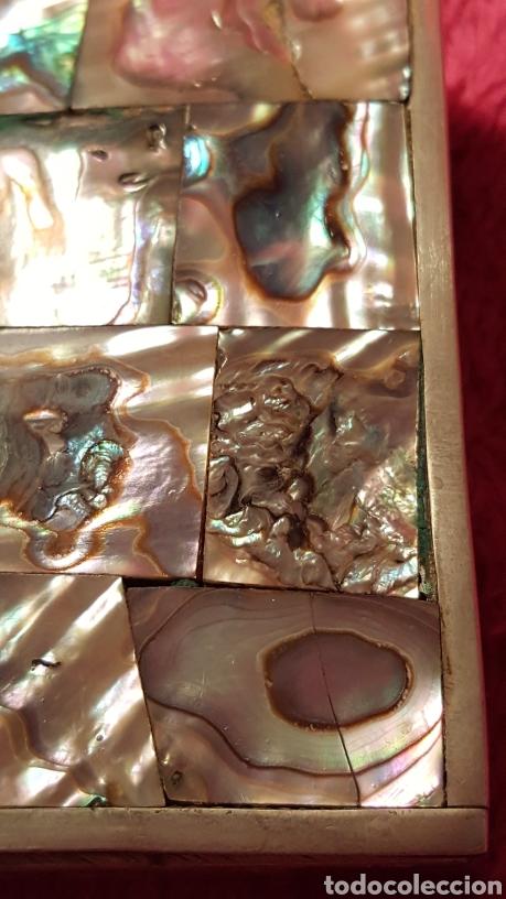 Antigüedades: CAJA MEJICANA DE PLATA CON NÁCAR NATURAL - Foto 15 - 115021888