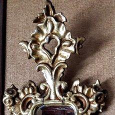 Antigüedades: ANTIGUO ESPEJO CORNUCOPIA DE MADERA TALLADA Y DORADA EN PAN DE ORO. . Lote 115056271