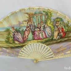 Antigüedades: ABANICO CRISTINO 1820-1840 LITOGRAFÍA DE PAPEL SOBRE VARILLA DE MARFIL DOS ESCENAS. Lote 115093831