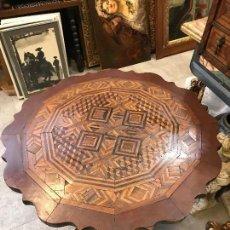 Antigüedades: MAGNIFICA MESA DE TARACEA ANTIGUA. Lote 115095739