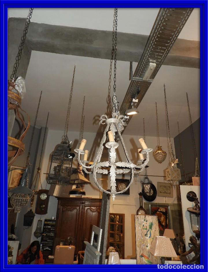LAMPARA DE TECHO DE SEIS LUCES EN METAL SUPERDECORATIVA (Antigüedades - Iluminación - Lámparas Antiguas)
