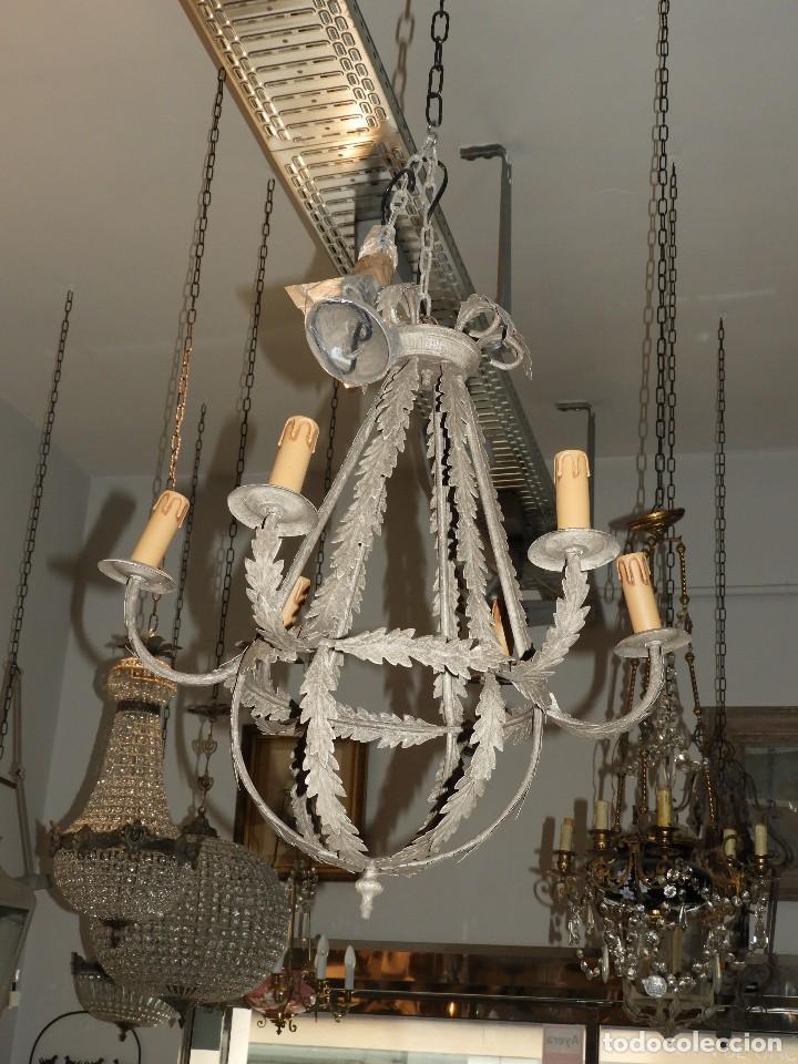 Antigüedades: LAMPARA DE TECHO DE SEIS LUCES EN METAL SUPERDECORATIVA - Foto 4 - 115124287