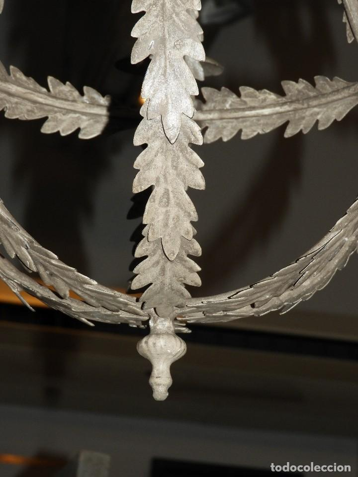 Antigüedades: LAMPARA DE TECHO DE SEIS LUCES EN METAL SUPERDECORATIVA - Foto 6 - 115124287
