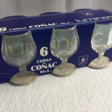 Antigüedades: CAJA DE 6 COPAS DE COÑAC AÑOS 70/80 LUMINARC 10 CL COGNAC VINTAGE. Lote 115130519