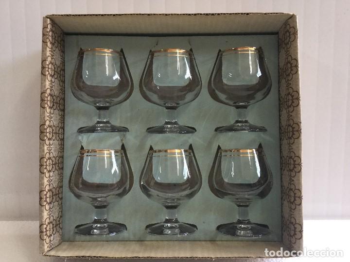 Antigüedades: Caja de 6 copas de coñac años 60 Napoleón cognac Vintage - Foto 2 - 115130635