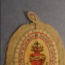 Antigüedades: ANTIGUO ESCAPULARIO DETENTE EL CORAZON DE JESUS ESTA CONMIGO.. Lote 115138555