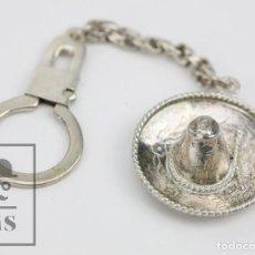Antigüedades: LLAVERO DE PLATA DE 925 MILÉSIMAS - SOMBRERO MEXICANO - MÉXICO - MARCAS DE CONTRASTE. Lote 115178195