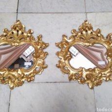 Antigüedades: PAREJA DE ESPEJOS CORNUCOPIAS DORADOS EN ORO FINO SIGLO XX. Lote 115179488