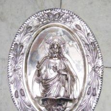 Antigüedades: CORAZÓN DE JESÚS PLATEADO SIGLO XX. Lote 115181104