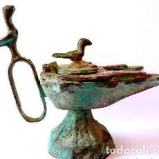 Antigüedades: IMPERIO SELJÚCIDA, SELYÚCIDA O SELJUQUÍ -LAMPARA DOBLE DE BRONCE, SIGLO X-XI. Lote 115181667