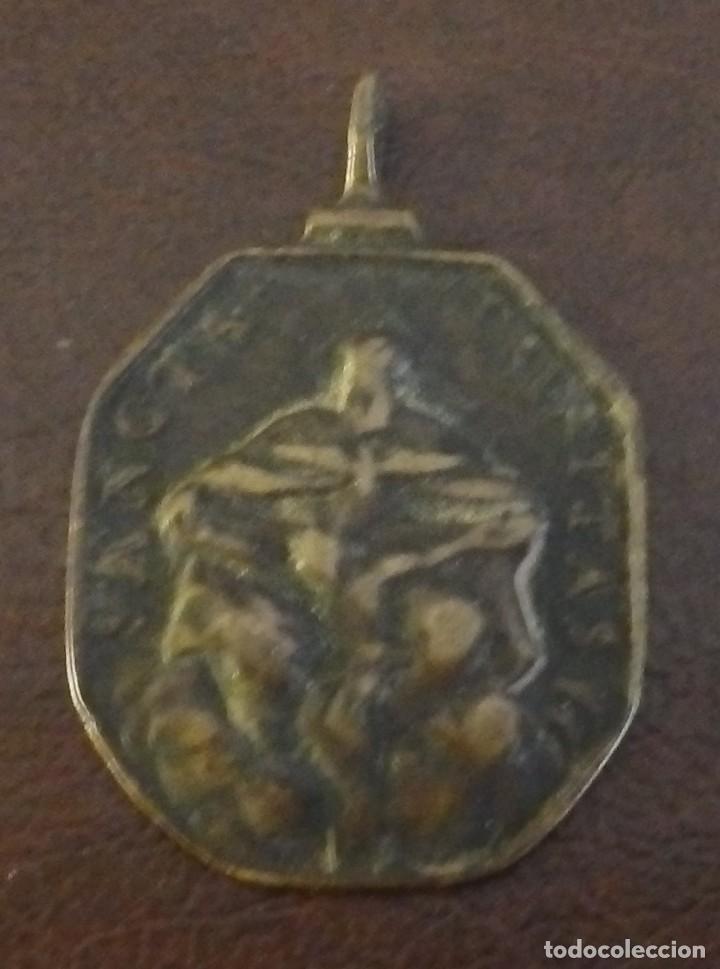 Antigüedades: Rara y bonita medalla religiosa de S. Felipe Neri, reverso Santa Trinidad siglo XVII - XVIII, bronce - Foto 2 - 115226103