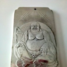 Antigüedades: EXCLUSIVO Y ANTIGUO LINGOTE PLATA TIBETANA DE BUDA 150 GRAMOS. Lote 145377572