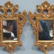 Antigüedades: PAREJA DE CORNUCOPIAS DE MADERA TALLADA EN PAN DE ORO. ANALCAI. Lote 115253887