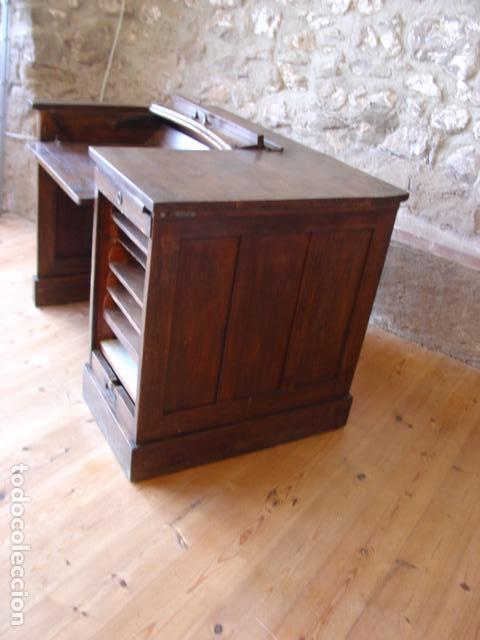 Antigüedades: Mueble Escritorio Escamoteable con Persiana para Máquina de Escribir. Dimensiones 78x110x73,5 cm. - Foto 5 - 115255743