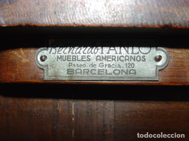 Antigüedades: Mueble Escritorio Escamoteable con Persiana para Máquina de Escribir. Dimensiones 78x110x73,5 cm. - Foto 14 - 115255743