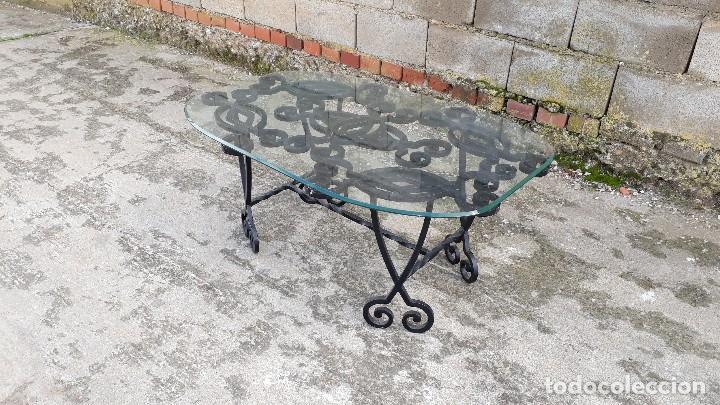 Antigüedades: Mesa antigua de hierro forjado, mesa auxiliar de forja, mesita de centro de salón terraza o jardín - Foto 11 - 115257367