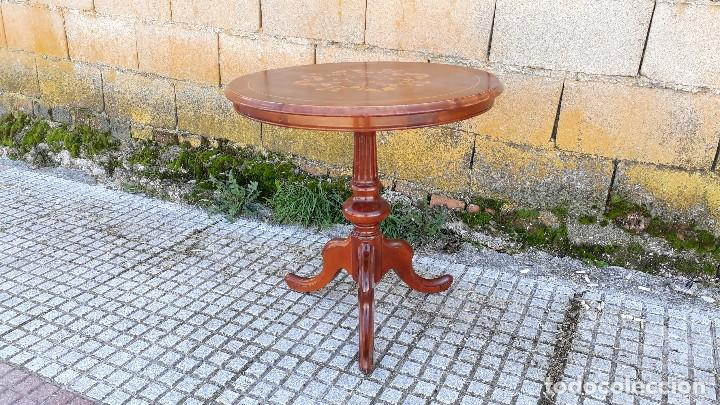 Antigüedades: Mesa velador antigua con marquetería estilo isabelino, mesa auxiliar, velador antiguo - Foto 7 - 115259631