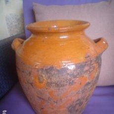 Antigüedades: PRECIOSA ORZA EN BARRO VIDRADO ALFARERIA EXTINGUIDA MAS DE 100 AÑOS. Lote 115310431