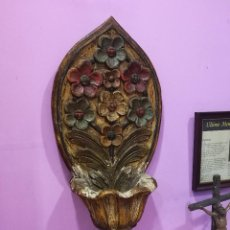 Antigüedades: PILA BENDITERA ANTIGUA MADERA TALLADA CORSERVANDO PINTURA ORIGINAL.LEER DESCRIPCIÓN. Lote 115320631