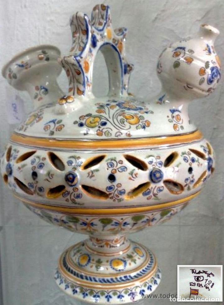 BOTIJO DE ENGAÑO RUIZ DE LUNA. MARCAS EN LA BASE. (Antigüedades - Porcelanas y Cerámicas - Talavera)