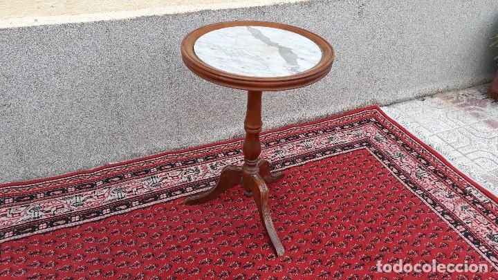Antigüedades: Mesa velador antigua de mármol, mesita auxiliar de mármol antigua retro vintage, velador antiguo - Foto 2 - 115342935