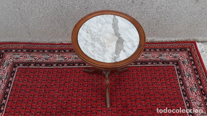 Antigüedades: Mesa velador antigua de mármol, mesita auxiliar de mármol antigua retro vintage, velador antiguo - Foto 4 - 115342935