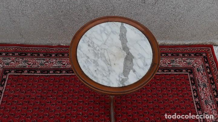 Antigüedades: Mesa velador antigua de mármol, mesita auxiliar de mármol antigua retro vintage, velador antiguo - Foto 5 - 115342935