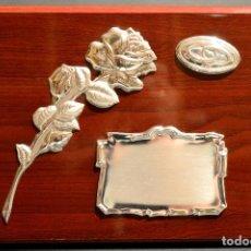 Antigüedades: PLACA CONMEMORATIVA EN PLATA DE LEY GALVANO CON CONTRASTES SIN USO. Lote 115359035